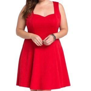 NWT TORRID Red Textured Sweetheart Skater Dress 2